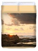 Sunrise Seagull On Rocks Duvet Cover