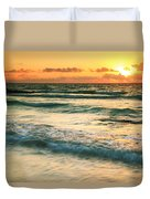 Sunrise Seascape Tulum Mexico Duvet Cover