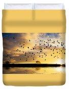 Birds Awaken At Sunrise Duvet Cover