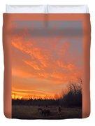 Sunrise With Horses Duvet Cover