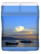 Sunrise With Outrigger Boats Duvet Cover
