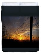 Sunset Along The Fence Yellow Red Orange Fine Art Photography Print  Duvet Cover