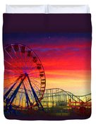 Sunset And A Sliver Moon Duvet Cover