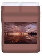 Sunset And Clouds Over Waterhole Duvet Cover