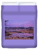 Sunset And Moonrise At Farmers Pond Duvet Cover by Cat Connor