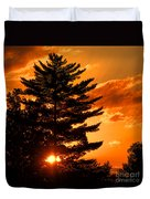 Sunset And Pine Tree  Duvet Cover
