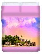 Sunset At Anse Source Argent Seychelles Duvet Cover