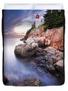 Sunset At Bass Harbor Lighthouse Duvet Cover