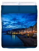 Sunset At Camogli In Liguria - Italy Duvet Cover
