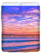 Sunset At Cayucos Pier Duvet Cover