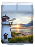 Sunset At Covehead Harbour Lighthouse Duvet Cover by Elena Elisseeva