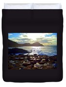 sunset at Giant's Causeway Duvet Cover