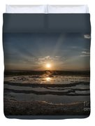 Sunset At Great Fountain Geyser - Yellowstone Duvet Cover