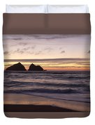 Sunset At Holywell Bay Duvet Cover