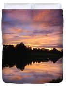 Sunset At Japanese Garden Duvet Cover