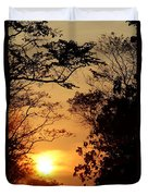 Sunset At Jungle Duvet Cover