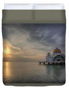 Sunset At Malacca Straits Mosque Duvet Cover