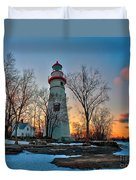 Sunset At Marblehead Lighthouse Duvet Cover