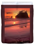 Sunset At Second Beach Olympic National Park Duvet Cover