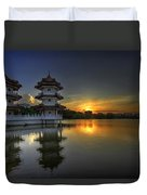 Sunset At Singapore Chinese Garden Duvet Cover