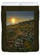 Sunset At The Beach  White Flowers On The Sand Duvet Cover by Guido Montanes Castillo