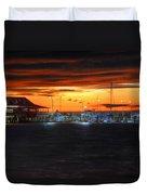 Sunset At The Fairhope Pier Duvet Cover