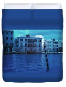 Sunset At The Hotel Canal Grande Venice Italy Near Infrared Blue Duvet Cover