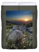 Sunset At The Windy Mountains Duvet Cover