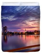 Sunset Balcony Of The West Palm Beach Skyline Duvet Cover by Debra and Dave Vanderlaan