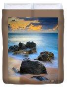 Sunset Beach Rocks Duvet Cover by Inge Johnsson