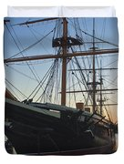 Sunset Behind Hms Warrior Duvet Cover