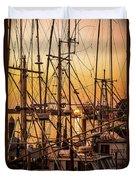 Sunset Boat Masts At Dock Morro Bay Marina Fine Art Photography Print Sale Duvet Cover