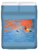 Sunset Cranes Duvet Cover