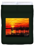 Sunset Fishing At The Pier Duvet Cover