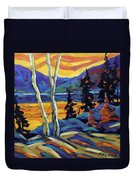 Sunset Geo Landscape Original Oil Painting By Prankearts Duvet Cover