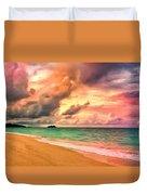 Sunset Glow At Waimanalo Duvet Cover