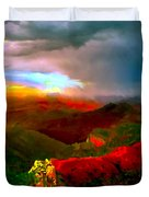 Sunset Imperial Peak North Grand Canyon Panorama Duvet Cover