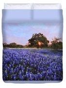 Sunset In Bluebonnet Field Duvet Cover