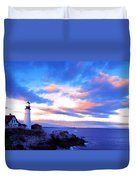 Sunset In Fork Williams Lighthouse Park Portland Maine State Duvet Cover