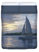 Sunset In Key West Duvet Cover by Lucie Bilodeau