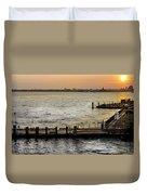 Sunset In Manhattan Pier Duvet Cover