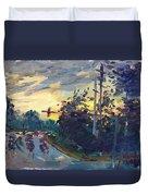Sunset In Military Highway Norfolk Va Duvet Cover