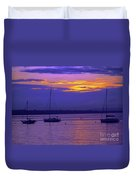 Sunset In Skerries Harbor Duvet Cover