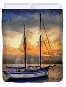 Sunset In The Bay Duvet Cover