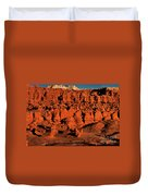 Sunset Light Turns The Hoodoos Blood Red In Goblin Valley State Park Utah Duvet Cover
