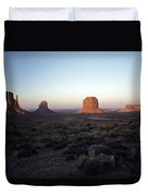 Sunset Light With Mittens And Desert In Monument Valley Arizona  Duvet Cover