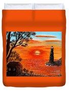 Sunset Lighthouse Duvet Cover