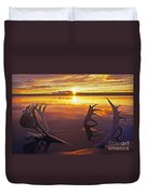Sunset On Caribou Antlers In Whitefish Lake Duvet Cover