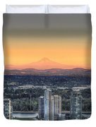 Sunset On Mount Hood Duvet Cover