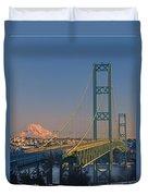 1a4y20-v-sunset On Rainier With The Tacoma Narrows Bridge Duvet Cover
